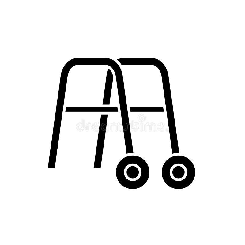 走的黑象,在被隔绝的背景的传染媒介标志扶手栏杆 走的概念标志的,例证扶手栏杆 向量例证
