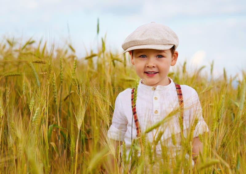 走逗人喜爱的微笑的男孩麦田 免版税库存照片