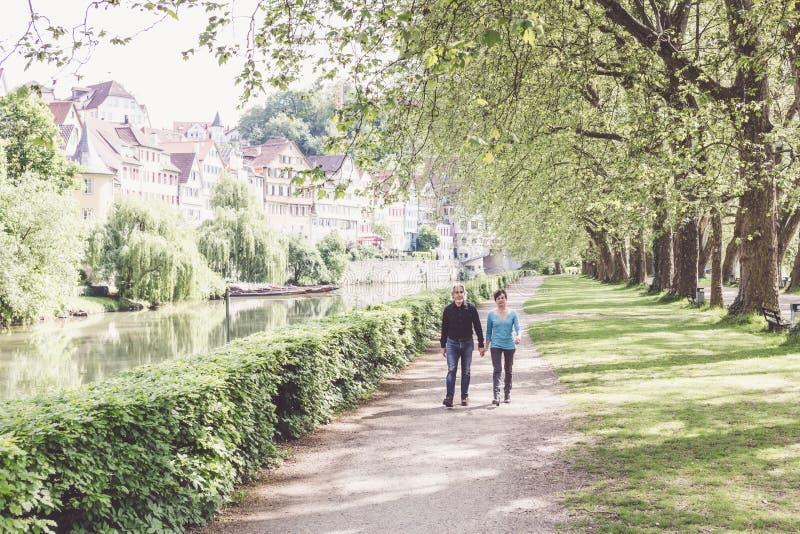 走通过公园的资深夫妇 库存图片