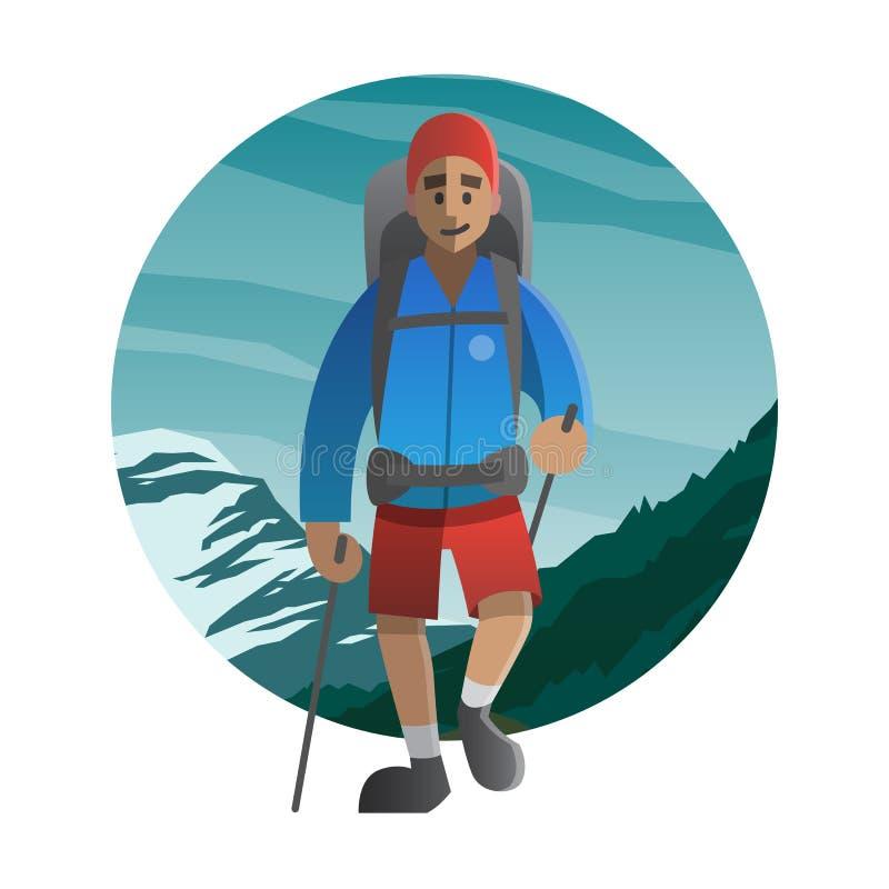 走通过山的远足者 迁徙,远足,上升, 皇族释放例证