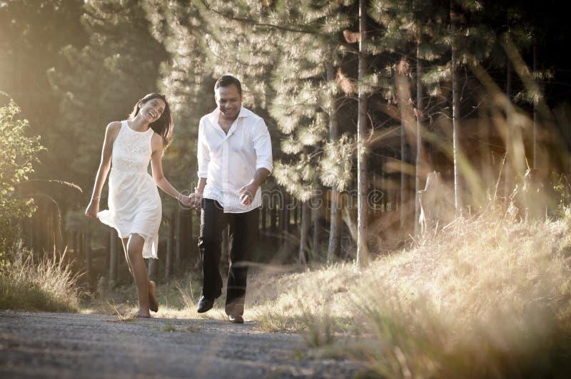 走通过领域的年轻英俊的印地安夫妇 图库摄影