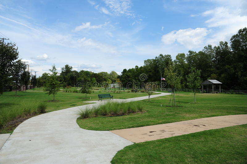 走道和脚道路在自由公园,海伦娜阿肯色 库存图片