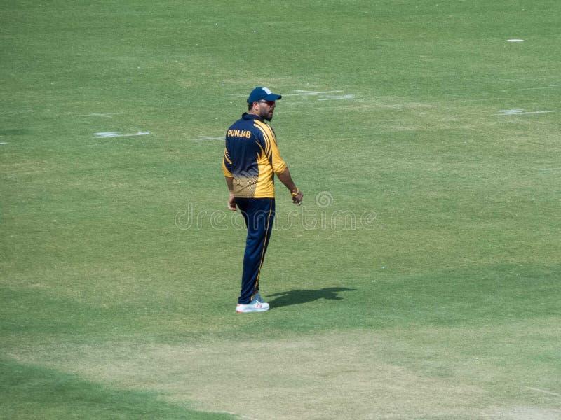 走领域的Yuvraj Singh玩板球者 免版税库存图片