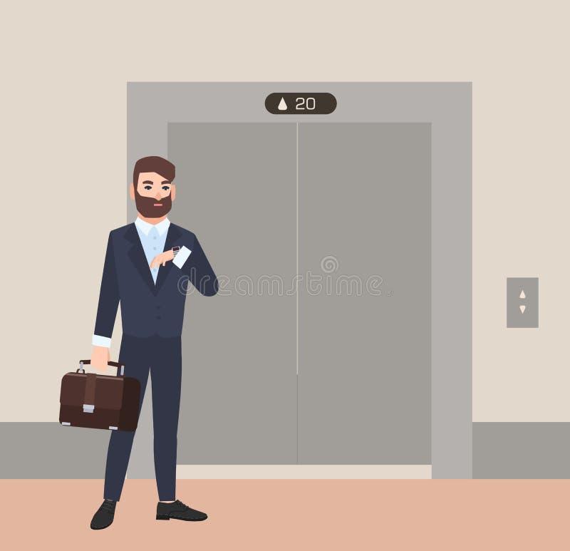 赶紧在电梯前面的闭合的门的衣服身分打扮的有胡子的人、商人或者办公室工作者和 库存例证