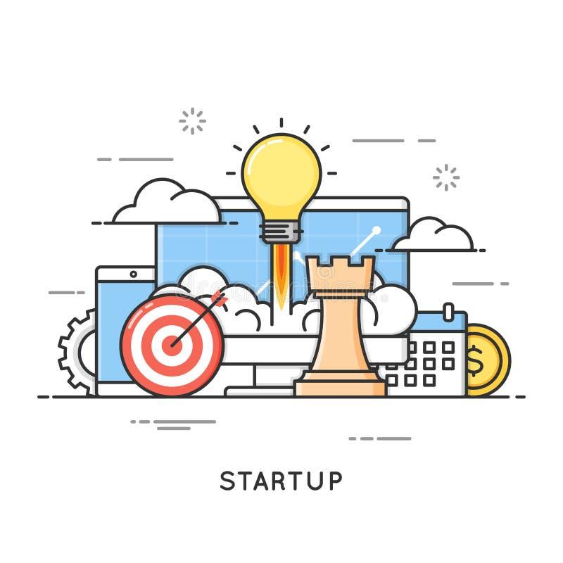 起动,企业项目发射,新的想法 平的线艺术样式 库存例证