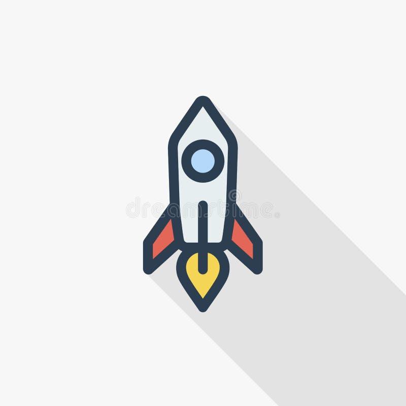 起动,火箭发射稀薄的线平的颜色象 线性传染媒介标志 五颜六色的长的阴影设计 皇族释放例证