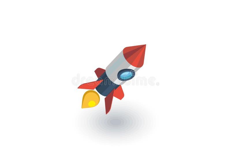 起动,火箭发射等量平的象 3d向量 库存例证