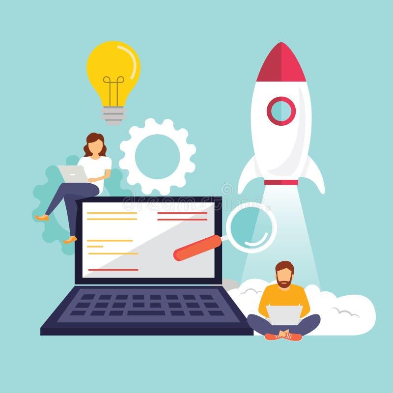 起动,程序员,企业项目,想法,项目管理 r o 库存例证