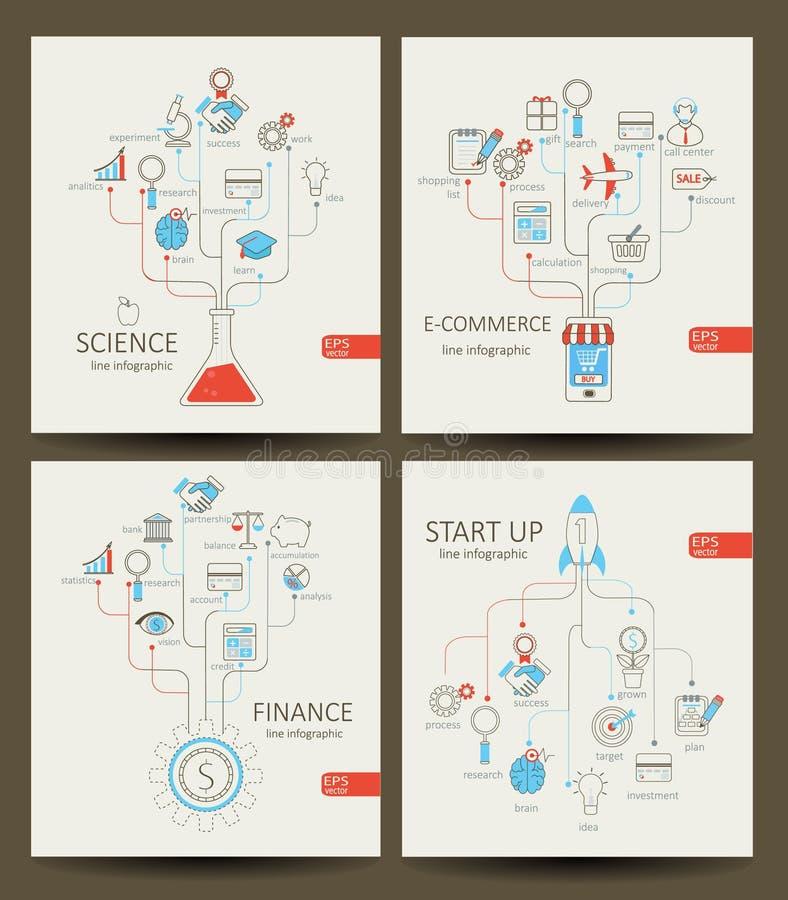 起动,财务,电子商务,科学Infographics  皇族释放例证