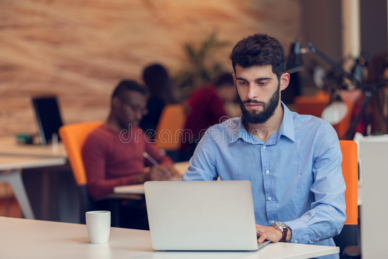 起始的事务,研究计算机的软件开发商在现代办公室 库存图片