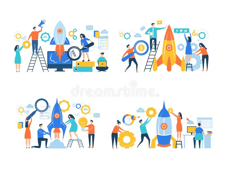 起始的企业字符 火箭队发射使成功的人工作自由事业经理办公室传染媒介事务 向量例证