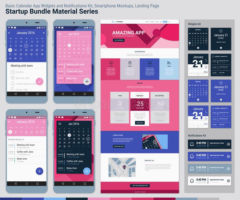 起始的捆绑材料系列 流动App UI和着陆页 皇族释放例证