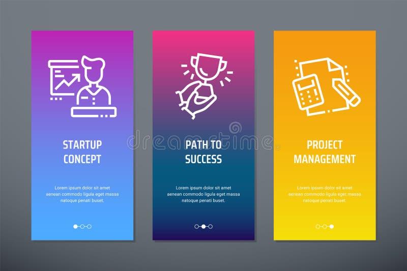 起始的概念,向成功的道路,与强的隐喻的项目管理垂直的卡片 皇族释放例证