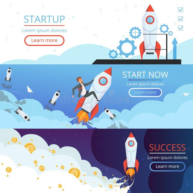 起始的横幅 新的想法或第一个项目传染媒介概念的创造性的企业发射火箭船或梭标志 库存例证