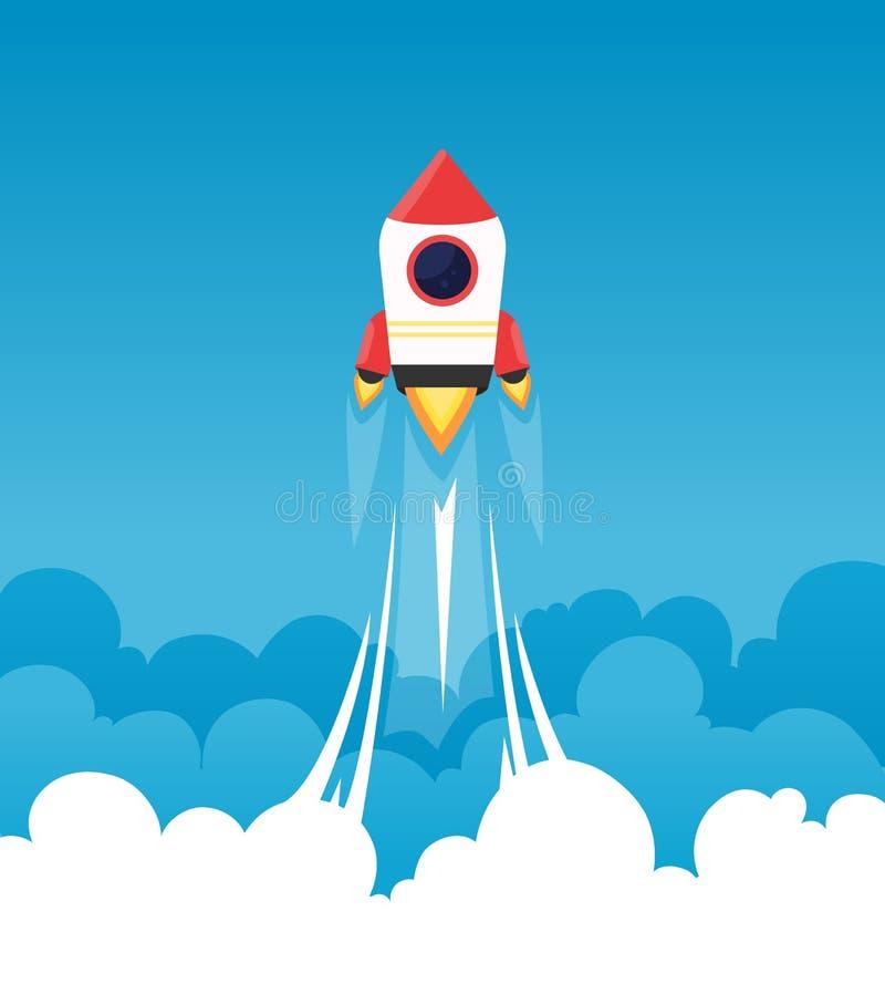 起始的背景 在多云蓬松天空的火箭队去发射起始的项目传染媒介的月亮企业概念 库存例证