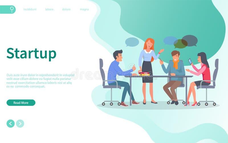 起始的讨论,与工作者网的会议 向量例证