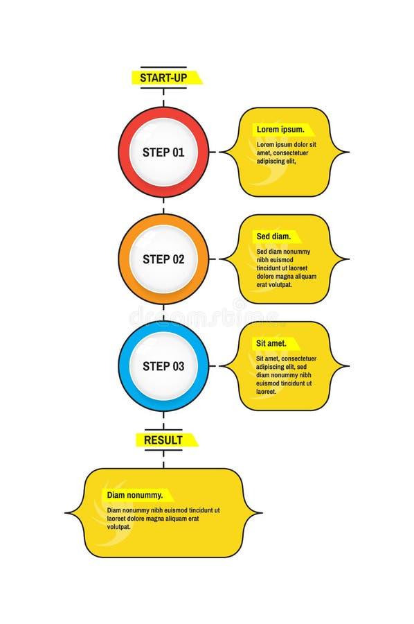 起始的Infographic模板 到达天空的企业概念金黄回归键所有权 传染媒介illustrat 库存例证