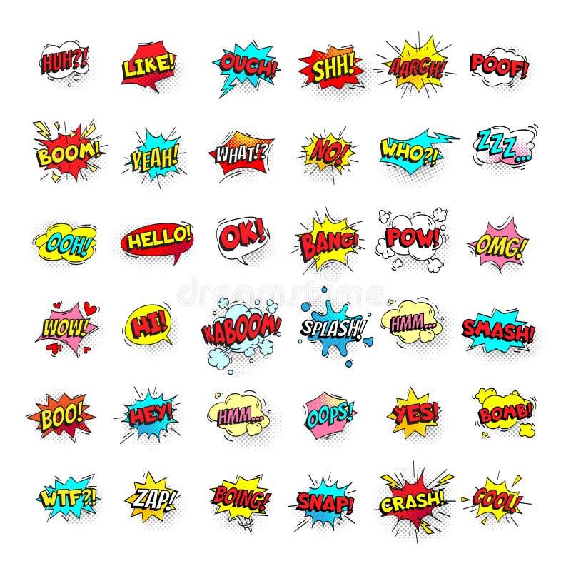 起泡可笑 动画片文本气球 战俘和摧毁,捣毁并且兴旺表示 讲话泡影传染媒介流行艺术贴纸 向量例证