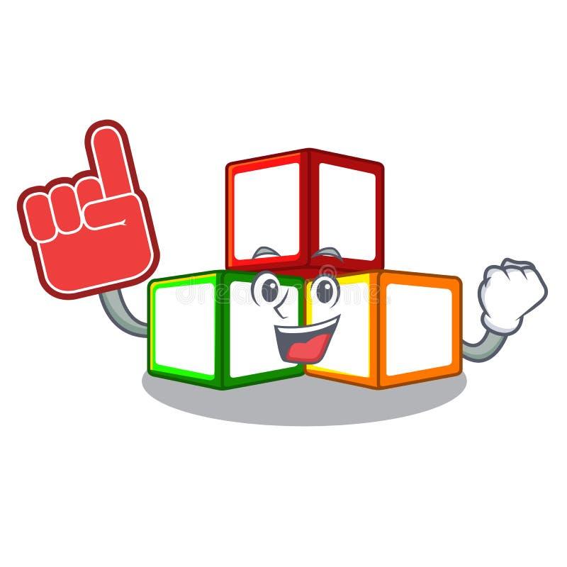 起泡沫手指在立方体箱子吉祥人的玩具块 向量例证