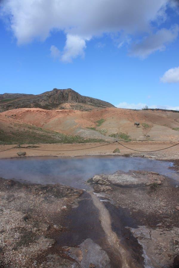 起泡的冰岛喷泉 库存照片