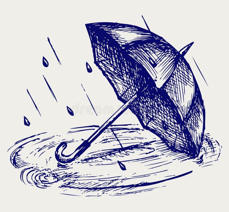 起波纹雨的下落在水坑和伞 库存例证