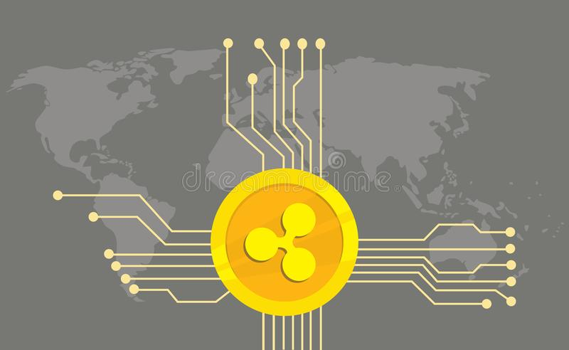 起波纹cryptocurrency品牌与金黄硬币的象选择和电子点有世界地图背景 皇族释放例证