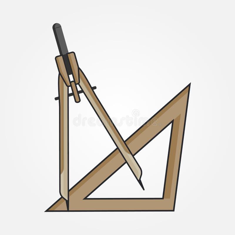 起草指南针的几何,线艺术 库存例证