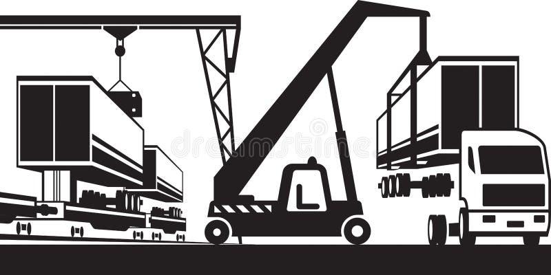 起重机从卡车移动容器到支架 向量例证