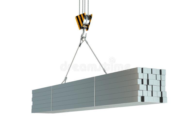 起重机勾子和金属方形的标尺 库存例证