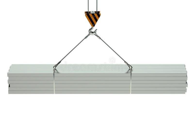 起重机勾子和金属角形材 库存例证