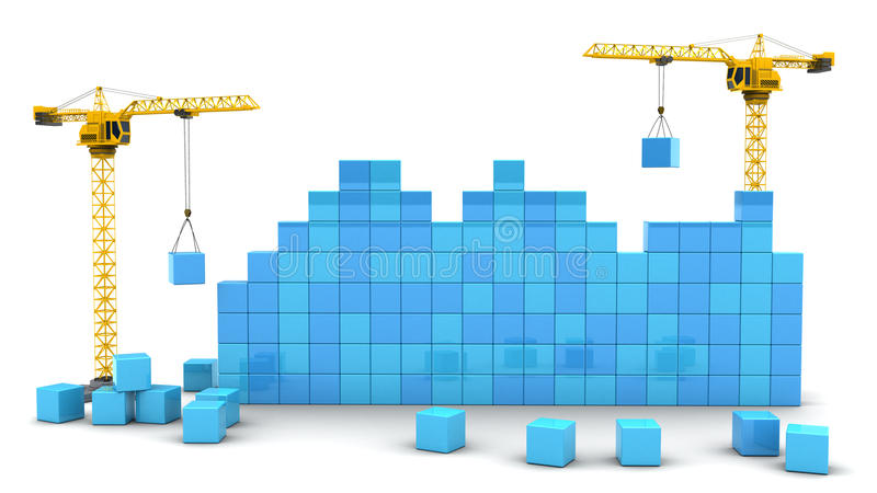 起重机和立方体 向量例证