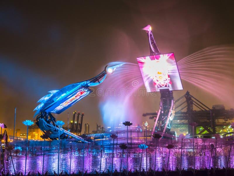 起重机舞蹈展示新加坡 图库摄影