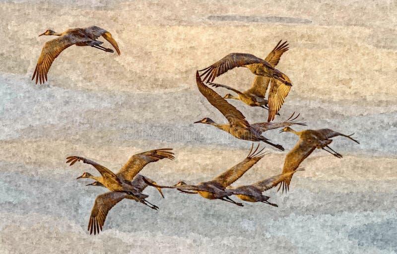 起重机飞行 在纸的绘的湿水彩 天真艺术 在纸的图画水彩 库存例证