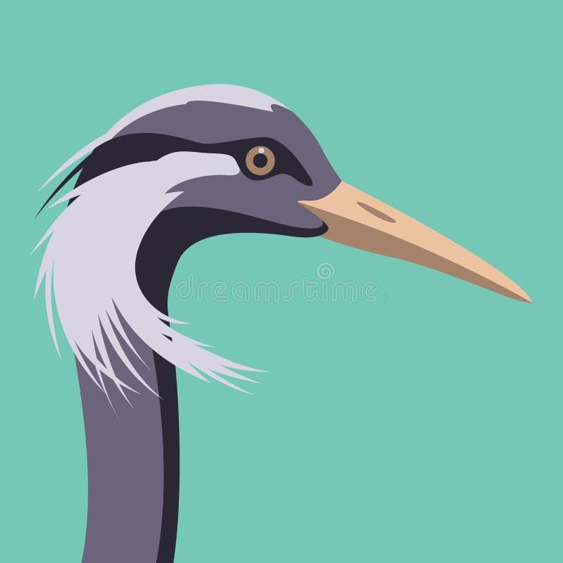 起重机鸟头面孔平传染媒介的例证 向量例证