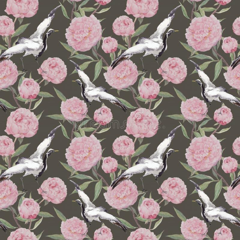 起重机鸟舞蹈,桃红色牡丹花 背景花卉重复 水彩 库存例证