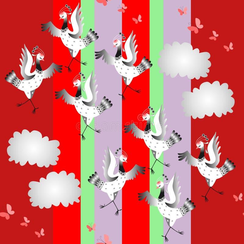 起重机鸟舞蹈 与跳舞鸟的无缝的动物印刷品在五颜六色的背景 库存例证