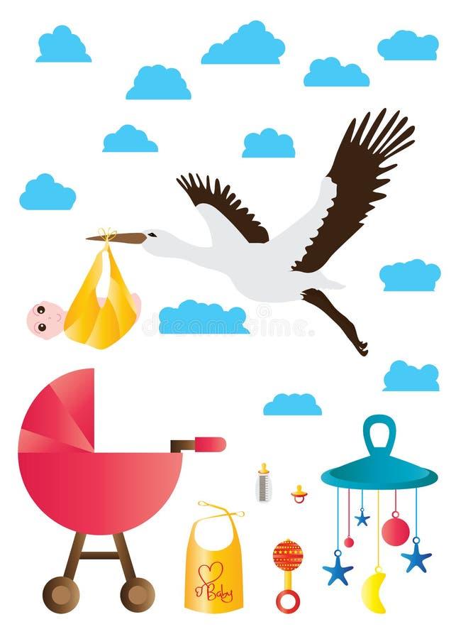 起重机鸟运载的婴孩集合 库存例证