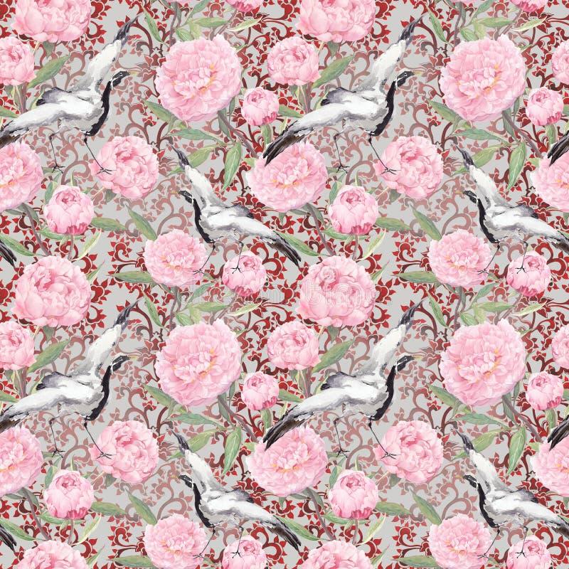 起重机鸟,牡丹花 花卉重复的样式,亚洲 水彩 免版税图库摄影