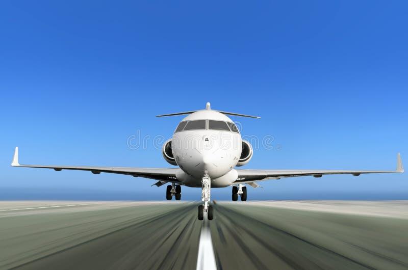 起飞与行动迷离的专用喷气机 免版税库存照片