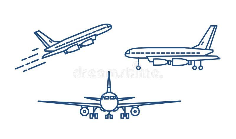 起飞或登高和站立在地面的客机或民用飞机画与在白色的等高线 库存例证