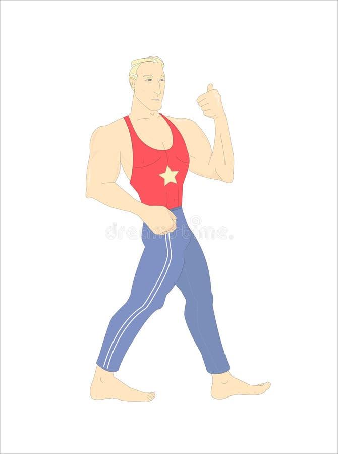 `超人` 一套英俊的白肤金发的爱好健美者佩带的训练衣服的奇怪例证 向量例证