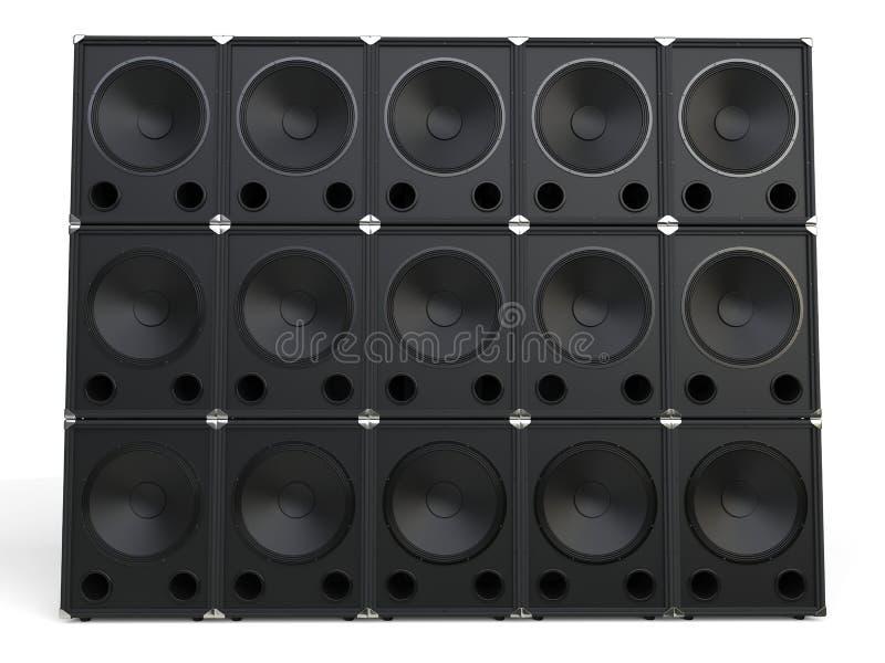超低音扬声器报告人墙壁  皇族释放例证
