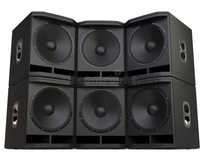 超低音扬声器被堆积的报告人墙壁 皇族释放例证