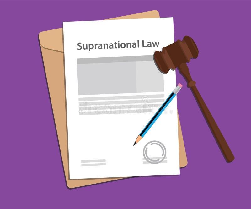 超国家的法律协议盖印与文件夹文件,否决并且判断锤子 库存例证