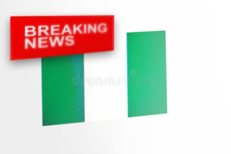 超大事件,尼日利亚国旗和题字新闻 图库摄影