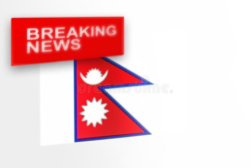 超大事件,尼泊尔国旗和题字新闻 免版税库存照片