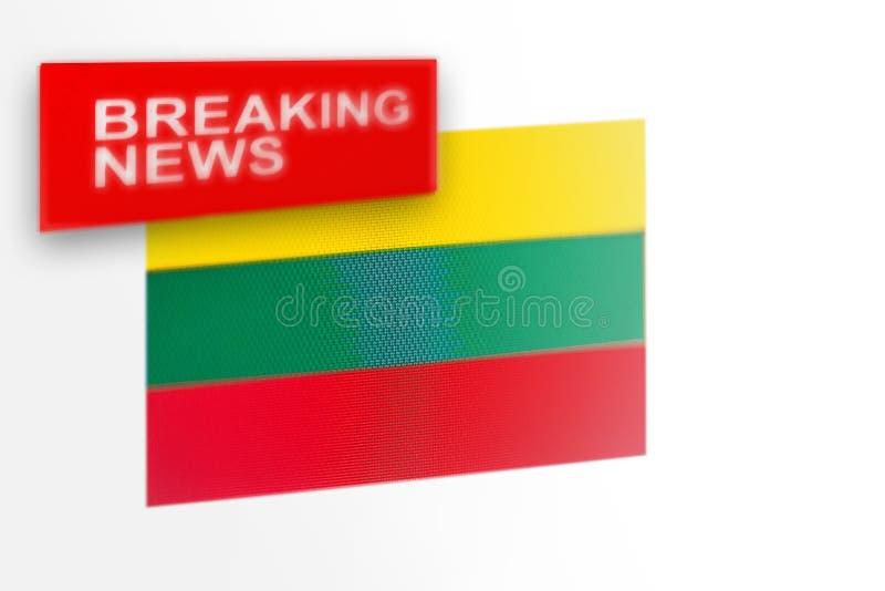 超大事件,立陶宛国旗和题字新闻 免版税库存图片