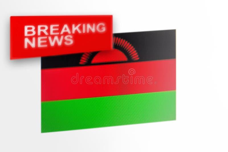 超大事件,马拉维国旗和题字新闻 免版税库存照片