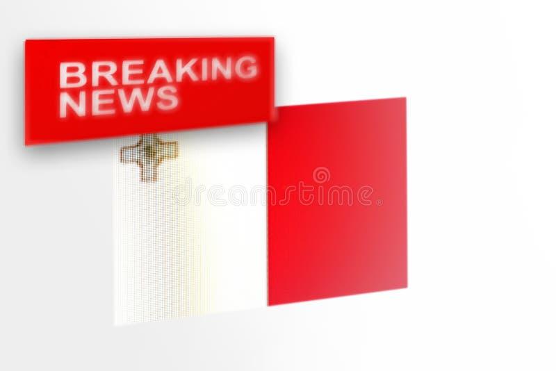 超大事件,马耳他国旗和题字新闻 库存照片
