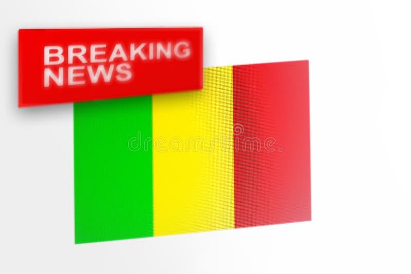 超大事件,马里国旗和题字新闻 库存照片